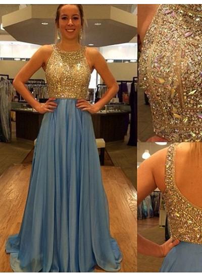 A-Linien-/Princess-Stil U-Ausschnitt Pinselschleppe Chiffon Abendkleid mit Perlenstickereien