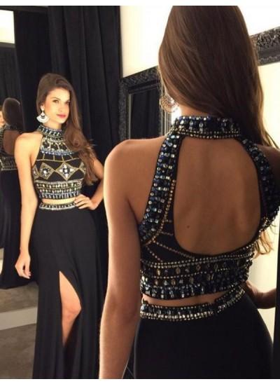 A-Linien-/Princess-Stil Neckholder Bodenlang Chiffon zweiteilige Abiballkleid Perlenstickereien mit Schlitz