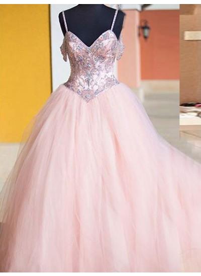 Duchesse-Stil Spaghetti Träger Bodenlang Tüll Abendkleid mit Kristalle