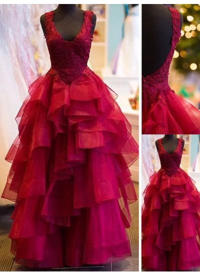 Duchesse-Stil V-Ausschnitt Bodenlang Tüll Abendkleid mit Applikationen