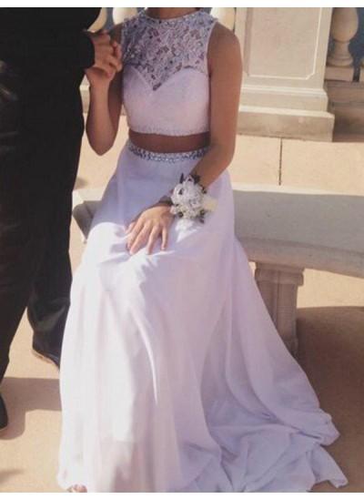 A-Linien-/Princess-Stil Juwel-Ausschnitt Bodenlang Chiffon zweiteilige Abendkleid mit Perlenstickereien