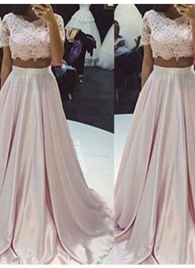 A-Linien-/Princess-Stil U-Ausschnitt Bodenlang Taft zweiteilige Kleid mit Spitze