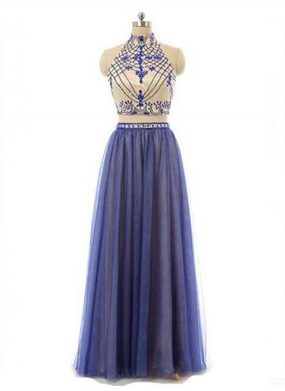 A-Linien-/Princess-Stil Stehkragen Bodenlang Chiffon zweiteilige Kleid mit Perlenstickereien