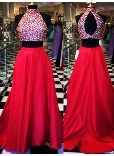A-Linien-/Princess-Stil Neckholder Pinselschleppe Satin zweiteilige Abiballkleid mit Perlenstickereien