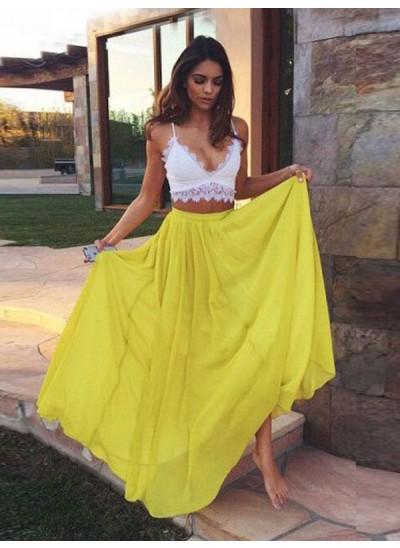 A-Linien-/Princess-Stil Träger Bodenlang Chiffon zweiteilige Abendkleid mit Spitze