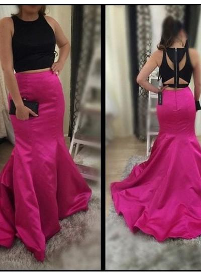 Trompeten-/Meerjungfrauenkleider U-Ausschnitt Pinselschleppe Satin zweiteilige Abendkleid