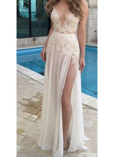 A-Linien-/Princess-Stil V-Ausschnitt Bodenlang Chiffon Abendkleid mit Schlitz