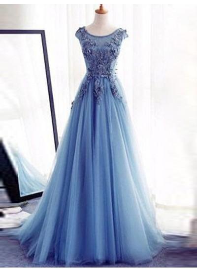 Duchesse-Stil Juwel-Ausschnitt Bodenlang Tüll Abendkleid mit Applikationen