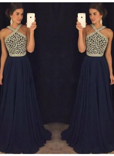 A-Linien-/Princess-Stil Neckholder Bodenlang Chiffon Abendkleid mit Perlenstickereien