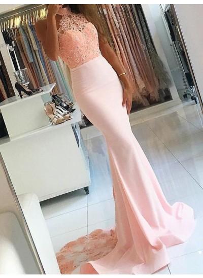 Trompeten-/Meerjungfrauenkleider Stehkragen Pinselschleppe Satin Abendkleid mit Spitze