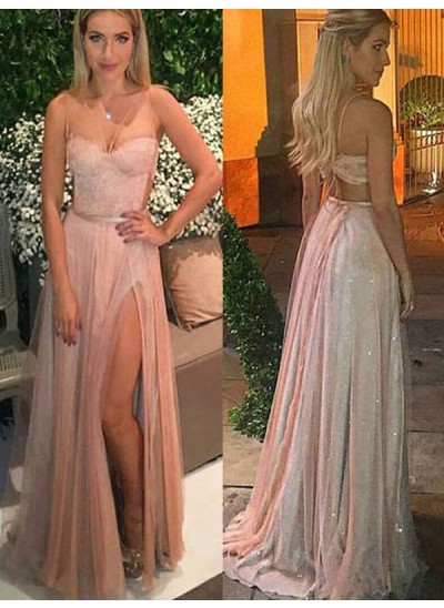 A-Linien-/Princess-Stil Herzausschnitt Bodenlang Chiffon Abendkleid mit Spitze Schlitz