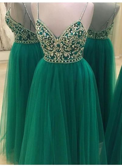 A-Linien-/Princess-Stil Spaghetti Träger Bodenlang Tüll Abendkleid mit Perlenstickereien
