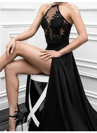 A-Linien-/Princess-Stil Neckholder Bodenlang Chiffon Abendkleid Applikationen mit Schlitz