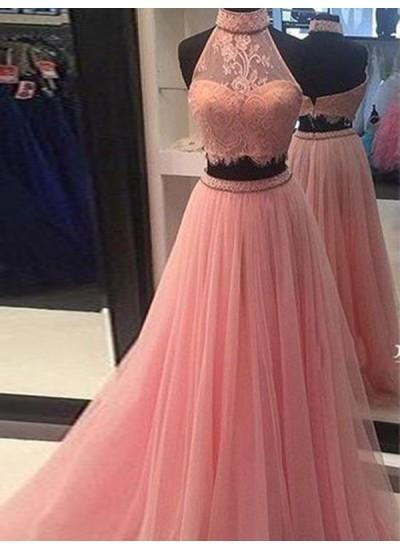 A-Linien-/Princess-Stil Stehkragen Bodenlang Tüll zweiteilige Abendkleid mit Spitze