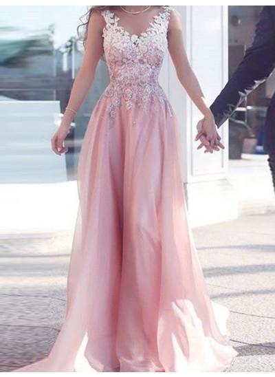 A-Linien-/Princess-Stil Herzausschnitt Bodenlang Chiffon Abendkleid mit Applikationen