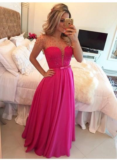 A-Linien-/Princess-Stil U-Ausschnitt Bodenlang Chiffon Abendkleid mit Perlenstickereien