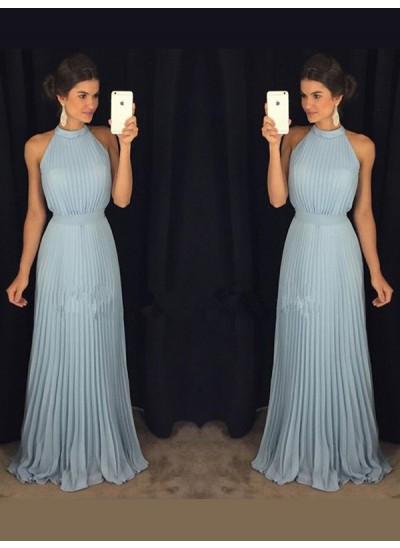 A-Linien-/Princess-Stil Stehkragen Bodenlang Chiffon Abendkleid mit Falten