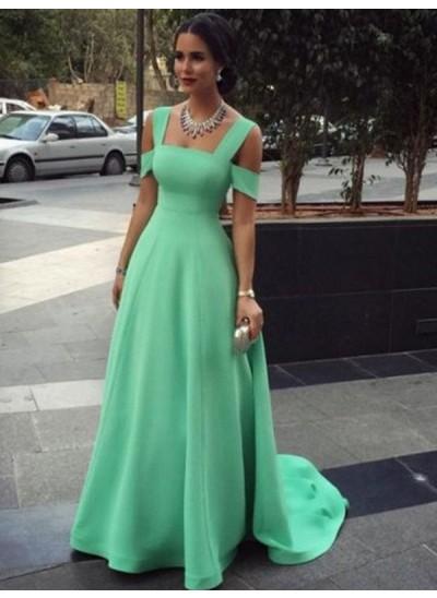 A-Linien-/Princess-Stil Träger Bodenlang Satin Abendkleid mit Perlenstickereien