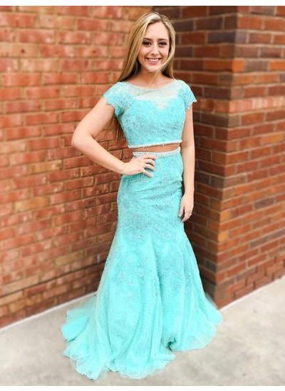 Trompeten-/Meerjungfrauenkleider U-Ausschnitt Pinselschleppe Spitze zweiteilige Kleid mit Perlenstickereien