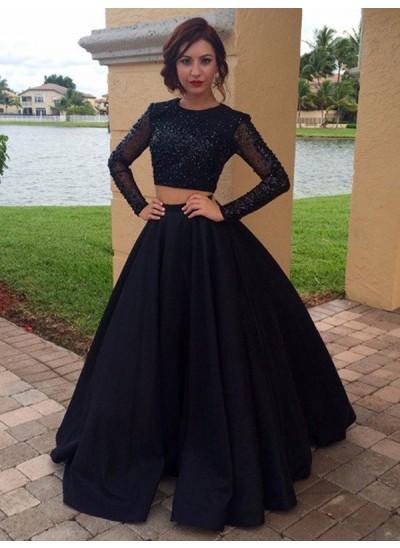 Duchesse-Stil U-Ausschnitt Bodenlang Satin Lange Ärmel zweiteilige Abschlussballkleid mit Perlenstickereien