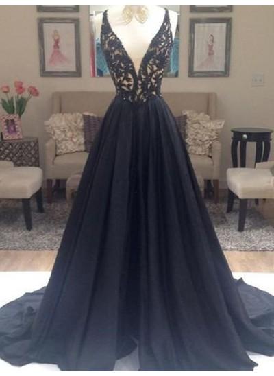 A-Linien-/Princess-Stil V-Ausschnitt Pinselschleppe Taft Abendkleid mit Perlenstickereien
