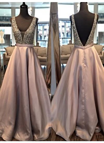 A-Linien-/Princess-Stil V-Ausschnitt Bodenlang Satin Abendkleid mit Perlenstickereien