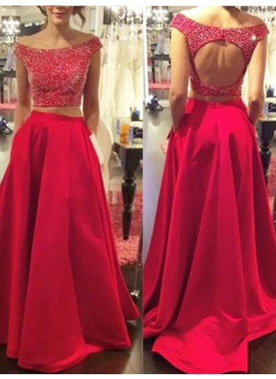 A-Linien-/Princess-Stil Bateau-Ausschnitt Pinselschleppe Satin zweiteilige Kleid mit Perlenstickereien