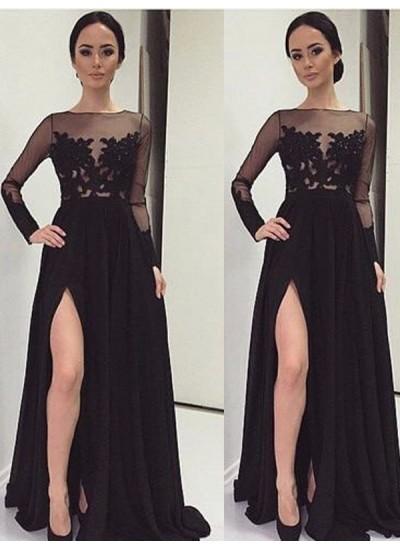A-Linien-/Princess-Stil Bateau-Ausschnitt Bodenlang Chiffon Spitze Abendkleid mit Schlitz