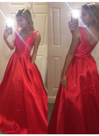 A-Linien-/Princess-Stil V-Ausschnitt Pinselschleppe Satin Abendkleid
