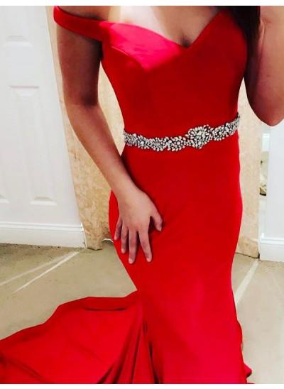 Trompeten-/Meerjungfrauenkleider Schulterfrei Pinselschleppe Satin Ballkleid mit Perlenstickereien