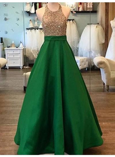 A-Linien-/Princess-Stil Neckholder Bodenlang Satin Abendkleid mit Perlenstickereien