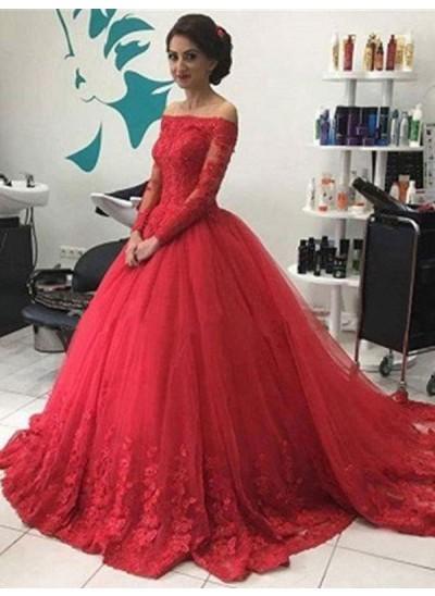 Duchesse-Stil Schulterfrei Pinselschleppe Tüll Abendkleid mit Spitze