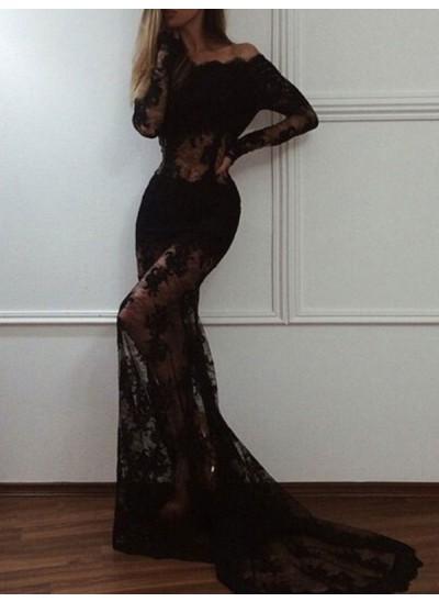 Trompeten-/Meerjungfrauenkleider Schulterfrei Pinselschleppe Spitze Abendkleid mit Spitze