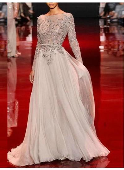 A-Linien-/Princess-Stil Stehkragen Bodenlang Chiffon Abendkleid mit Applikationen