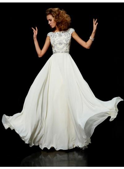 A-Linien-/Princess-Stil Stehkragen Bodenlang Chiffon Kurze Ärmel Abendkleid mit Perlenstickereien