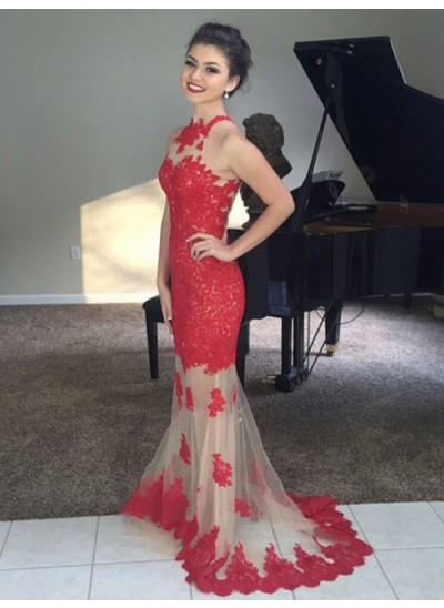 Trompeten-/Meerjungfrauenkleider Stehkragen Pinselschleppe Netz Ärmellos Abendkleid mit Applikationen