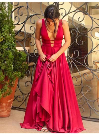 A-Linien-/Princess-Stil V-Ausschnitt Ärmellos Pinselschleppe Stretch-Satin Kleid mit Rüschen