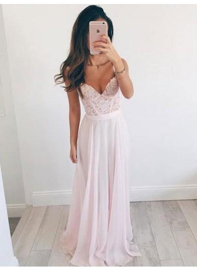 A-Linien-/Princess-Stil Herzausschnitt Ärmellos Pinselschleppe Chiffon Abendkleid mit Spitze Perlenstickereien
