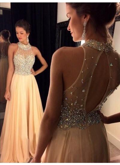 A-Linien-/Princess-Stil Stehkragen Ärmellos Chiffon Pinselschleppe Abendkleid mit Kristalle