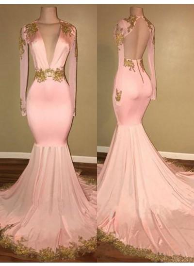 Trompeten-/Meerjungfrauenkleider V-Ausschnitt Pinselschleppe Kunstseide Lange Ärmel Kleid mit Applikationen