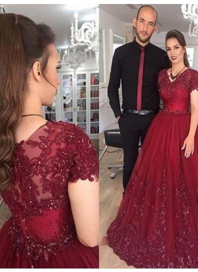 A-Linien-/Princess-Stil V-Ausschnitt Pinselschleppe Tüll Kurze Ärmel Abendkleid mit Applikationen