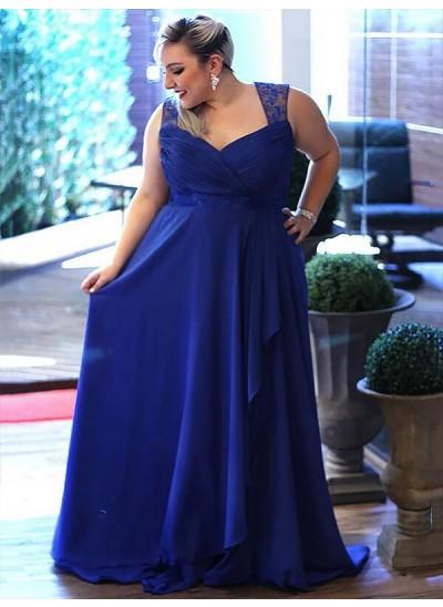 A-Linien-/Princess-Stil V-Ausschnitt Pinselschleppe Ärmellos Chiffon Abendkleid in Übergröße mit Spitze
