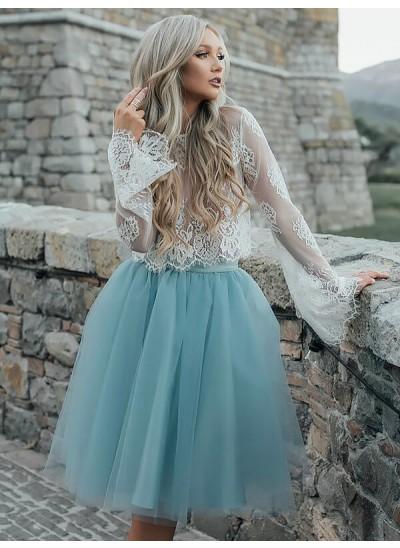 A-Linien-/Princess-Stil U-Ausschnitt Spitze Lange Ärmel Knielang Kleid mit Spitze Tutu