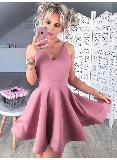 A-Linien-/Princess-Stil V-Ausschnitt Satin Ärmellos Kurze Cocktailkleid