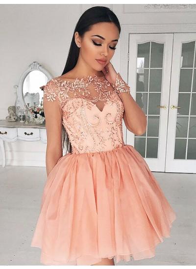 A-Linien-/Princess-Stil Bateau-Ausschnitt Chiffon Lange Ärmel Kurze Kleid mit Applikationen