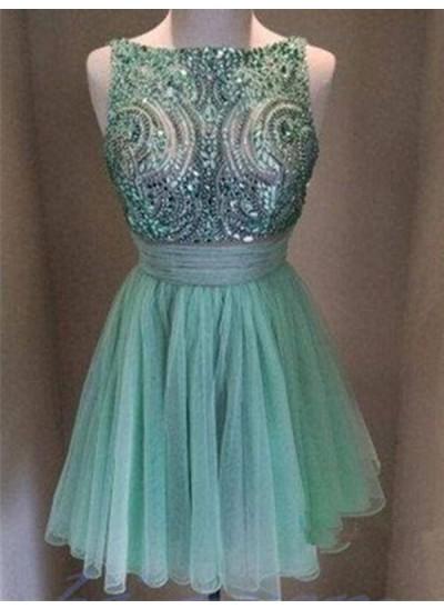 A-Linien-/Princess-Stil Bateau-Ausschnitt Tüll Ärmellos Kurze Abiballkleid mit Perlenstickereien