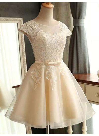 A-Linien-/Princess-Stil U-Ausschnitt Tüll Kurze Ärmel Knielang Kleid mit Applikationen Spitze