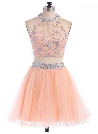 A-Linien-/Princess-Stil Juwel-Ausschnitt Tüll Ärmellos Kurze zweiteilige Kleid mit Perlenstickereien Applikationen