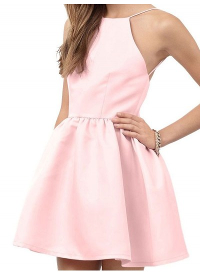A-Linien-/Princess-Stil Neckholder Satin Ärmellos Kurze Rückenfrei Kleid mit Perlenstickereien Spitze