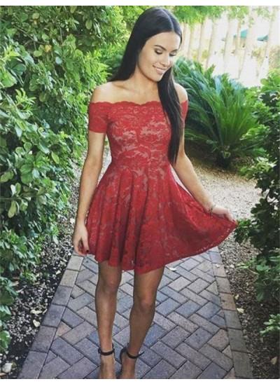 A-Linien-/Princess-Stil Schulterfrei Spitze Kurze Ärmel Kurze Kleid mit Spitze